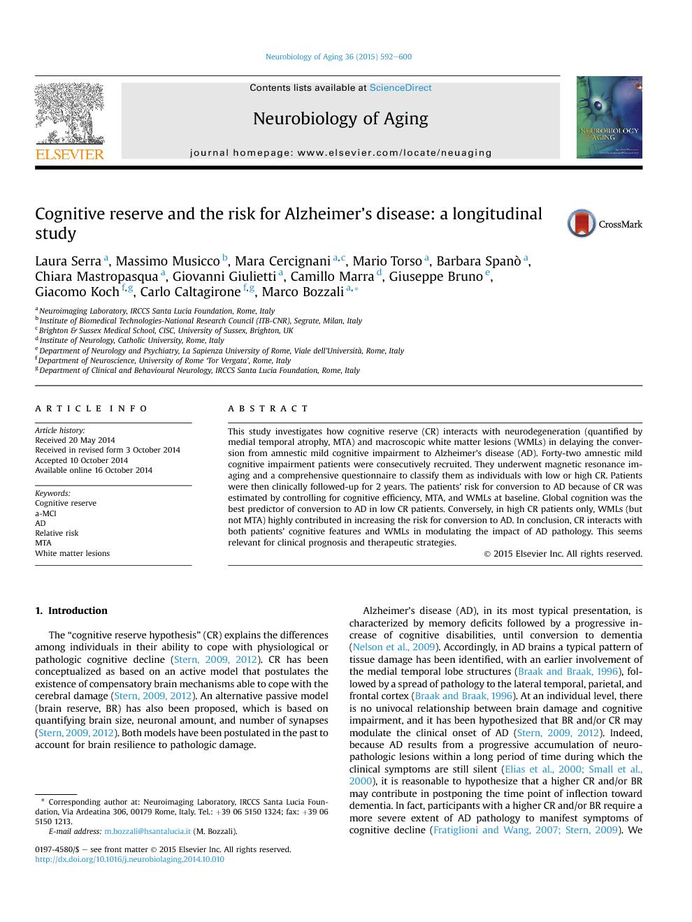 پیش نمایش مقاله ذخیره شناختی و خطر ابتلا به بیماری آلزایمر: یک مطالعه طولی